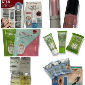 BEAUTY BUNDLE NAILS EYELASHES FACE MASKS LIPSTICK (SEE PICTURES) PAMPER YOURSELF